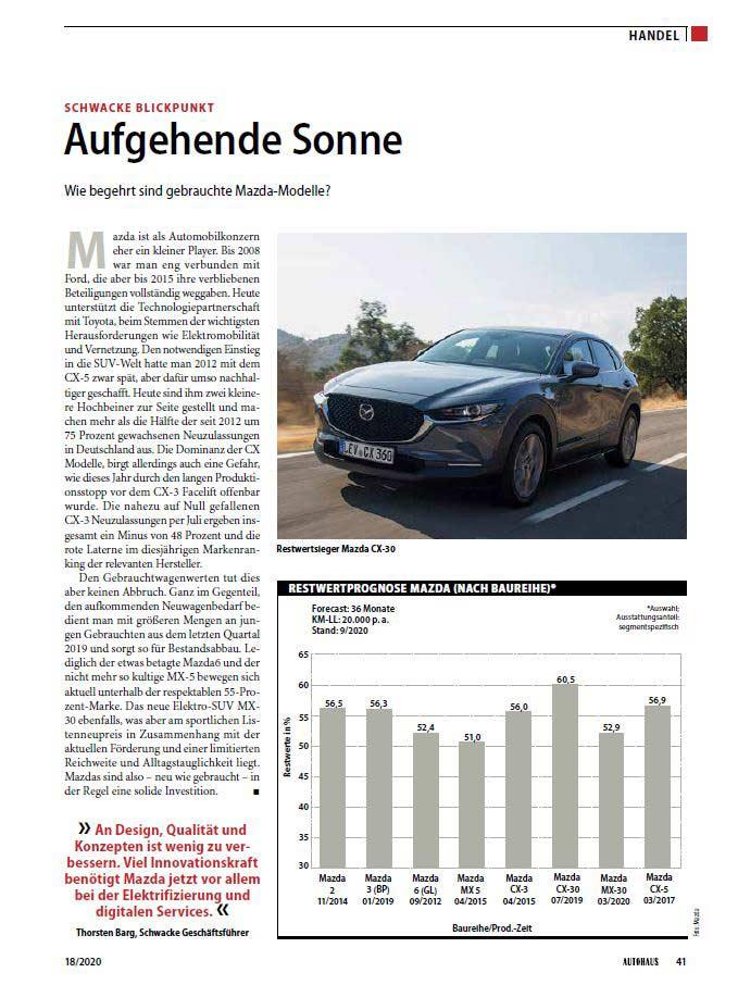Screenshot des Schwacke Blickpunkt Artikels bei der Zeitschrift Autohaus 18/2020