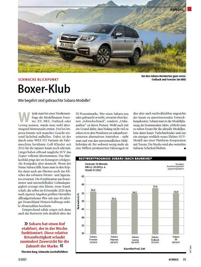 Screenshot des Schwacke Blickpunkt Artikels bei Autohaus - Subaru